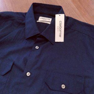 Claiborne Stunning Sapphire Blue Shirt Size L NWT